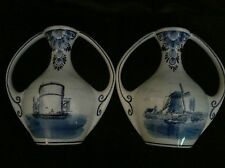 Delft blauw Holland Handpainted Flower Vases with Windmill sceneries