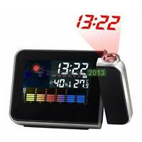 Black LCD Digital LED Projector Projection Alarm Clock Weather Station Calendar