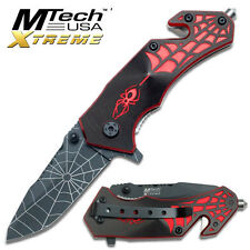 MTECH SHORT  Red Spider Handle Design Rescue Folder Knife