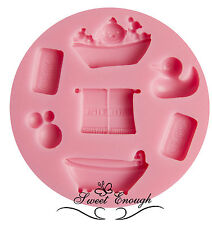 Silicone Baby Shower Christening Cup Cake Topper Fondant Mould Mold Birthday