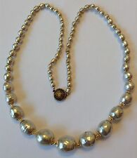 VINTAGE MIRIAM HASKELL SIGNED LARGE GRADUATED BAROQUE PEARL NECKLACE V3