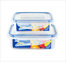 2 x Oblong Clip Lock Airtight Kitchen Food Storage Container Plastic Box ZOOM