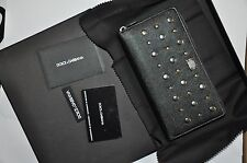Authentic New Men's Dolce & Gabbana Black Leather Studded Long Wallets