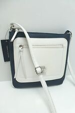 TOMMY HILFIGER Messenger XBody Bag*Navy/White w/Silver Tone Shoulder Purse New