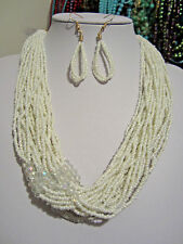 Multi Strand White Glass seed Bead Faceted Glass Bead Necklace earring set