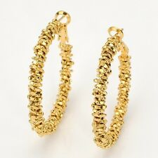 18k Yellow Gold Filled Womens Earrings 40mm Charms Ring Hoops Lovely Gift