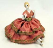 VINTAGE GERMAN ART DECO 1930 PORCELAIN HALF DOLL PINCUSHION WITHLEGS HATPIN DOLL