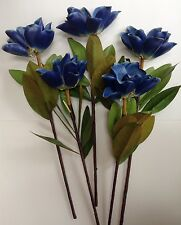 "5 Blue Magnolia 26"" Stem Hand-wrapped Filler Silk Flower Leaf Home Wedding Decor"