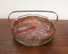Pink Depression Glass Art Deco 3-PART DIVIDED RELISH/CANDY DISH with Gold Caddy
