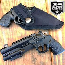Spring Assisted REVOLVER PISTOL Gun BLACK Folding Pocket Knife W/ GUN HOLSTER