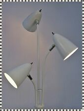 Vintage Mid Century Modern Atomic White Bullet Cone Shades Eames Era Floor Lamp