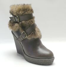 New! Baby Phat Brown Ankle Furry Boots Demaris Wedge Women's Shoes 6.5