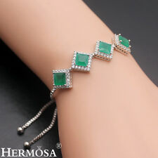 """Mother's Day Sale! Green Emerald Sterling Silver Pull-Tie Chain Bracelet 3-9"""""""
