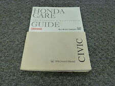 1998 Honda Civic Sedan Owner Owner's Manual User Guide DX EX LX 1.6L