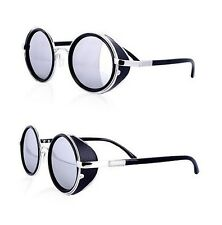 Restyle Steampunk Warrior Silver Faux Leather Round Sunglasses