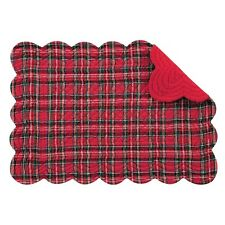 Set of 4 Pcs., Inches Quilted Scallop Placemats, Red Plaid, Christmas