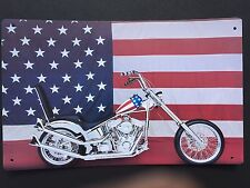 Tin Sign Vintage Harley-Davidson Motorcycles With American Flag