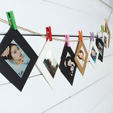 10PCS White Paper Photo Wall Hanging Frame Album Rope Clip Set Home Decor New