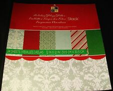 "DCWV Cardstock Paper Stack Holiday Glitzy Glitter 24 sheets 12"" x 12"" Scrapbook"