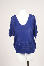 Band of Outsiders NWT $445 Blue Mix Stitch Silk & Cashmere SS Knit Sweater SZ 4