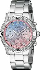 GUESS U0774L1 Silver Swarovski Crystal Gradient Multifunction Women's Watch NEW*