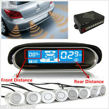 8× Silver Parking Sensor Car Reverse Radar Alarm Dual-core Dual LCD Display Kit