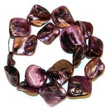 MPL1148L 5-Strands Pink Rose Diamond Nugget 16-20mm Mother of Pearl Shell Beads