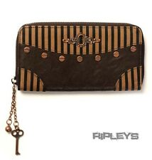 BANNED Clothing Pinstripe Brown Black STEAMPUNK WALLET Purse Goth Vintage