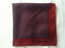 POLO RALPH LAUREN MENS NEW BURGUNDY 100%SILK POCKET SQUARE 16X16 MADE IN ITALY