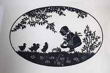 ANTIQUE Girl with Ducks Art Silhouette Picture in black frame