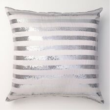 ZOE WHITE Satin Sequins European Pillowcase NEW Logan  Mason Ultima Collection