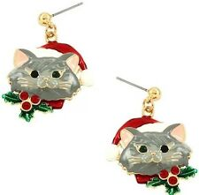 CHRISTMAS GREY KITTY CAT WEARING SANTA HAT HOLLY BERRY ON COLLAR DANGLE EARRINGS