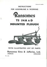 Ransomes TS54 A & D Mounted Plough Operators Manual with Parts List