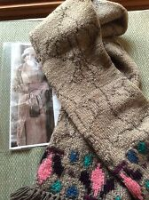 Hand Knitted Scarf Pure New Australian Wool 'Edith' Downton Abbey Orig Design