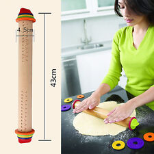Adjustable Rolling Pin Rings Beech Wooden Tool For Baking Pizza Dough Cookies