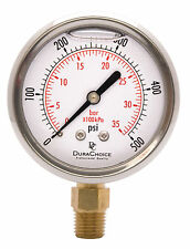 "2-1/2"" Oil Filled Pressure Gauge - SS/Br 1/4"" NPT Lower Mount 500PSI"