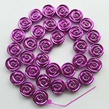 R0069714 Colorful Carved Purple Hematite Flower loose bead 15.5 inch