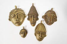 Lot 5 Messinganhänger Masken I Ghana Brass pendants masks Ashanti Afrozip