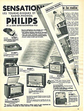PUBLICITE ADVERTISING 124  1954  PHILIPS   tourne-disques & radio-phones