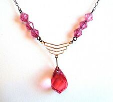 c.1930s Original BRIGHT PINK GLASS Crystal Drop PENDANT NECKLACE Art Deco CZECH