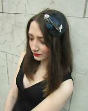 Navy Blue Jay Black Feather Fascinator Headpiece Races Vintage 1940s 1920s U54