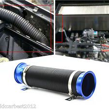 "Car Practical Blue Flexible Scalable 75mm 3"" Vehicles Air Intake Tube Hose Pipe"