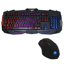 Game Max Gamer 3 Colour LED Illuminated USB Gaming Keyboard and Mouse - Black