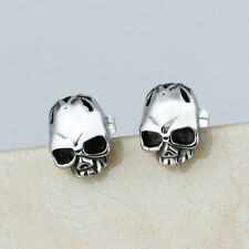 Fashion Stainless Steel Silver Punk Men Cheekbone Skull Biker Ear Stud Earrings