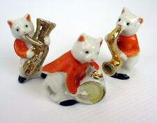 Vintage Porcelain Cats Set gold Instruments Drum Saxophone Tuba ceramic Japan