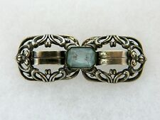 Vtg Art Deco Sterling Silver Repousse Brooch Coat Sweater Pin Blue Faceted Glass
