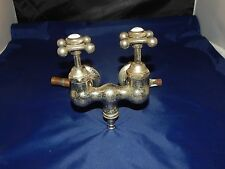 Antique Victorian Two Handle Chrome Faucet w/Porcelain Tabs and Fittings