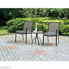 3 Piece Bistro Set Patio Outdoor Furniture Chairs & Table Cushion Glass Top Lawn