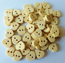 50Pcs Natural Wooden 2 Hole heart Sewing Buttons, Scrapbooking, cards 11mm UK