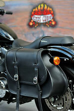 LEATHER SADDLE BAG FOR HARLEY DAVIDSON SPORTSTER WITH CARVING FOR SUSPENSION